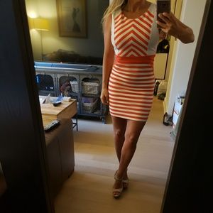 Coral and white Stripe Dress